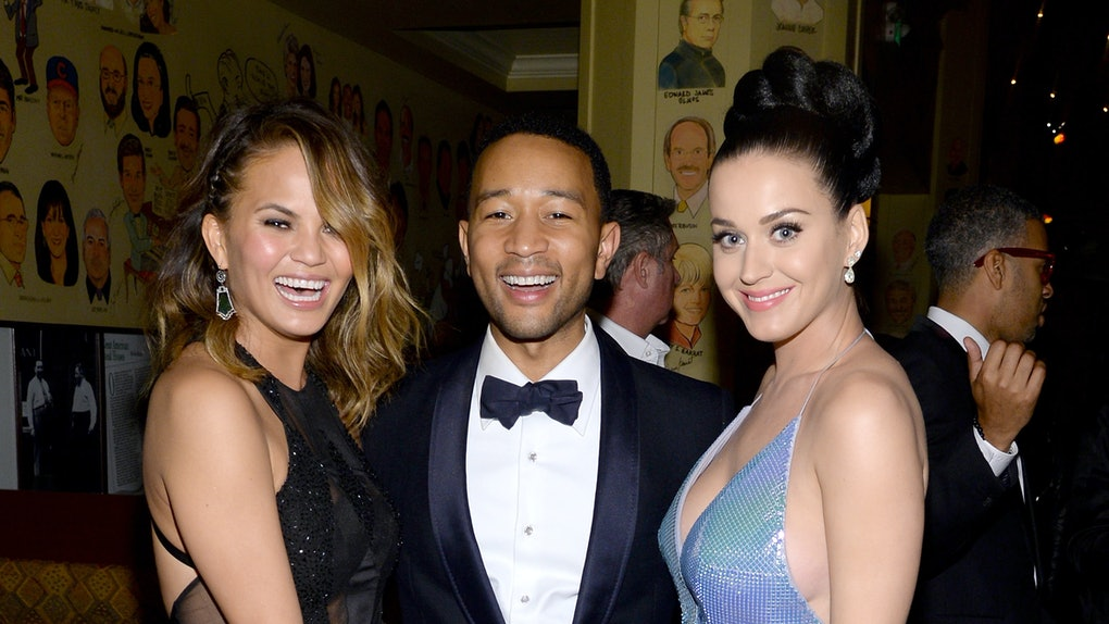 LOS ANGELES, CA - JANUARY 26:  (L-R) Model Christine Teigen and recording artists John Legend and Katy Perry attend the Sony Music Entertainment Post-Grammy Reception at The Palm on January 26, 2014 in Los Angeles, California.  (Photo by Larry Busacca/Getty Images for Sony Music Entertainment)