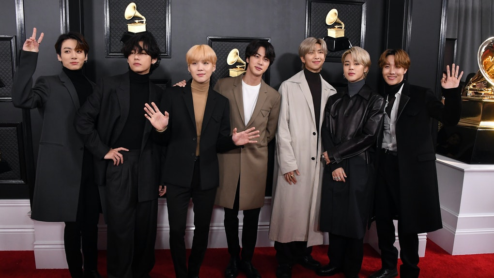 LOS ANGELES, CALIFORNIA - JANUARY 26: BTS arrives at the 62nd Annual GRAMMY Awards at Staples Center on January 26, 2020 in Los Angeles, California. (Photo by Steve Granitz/WireImage)