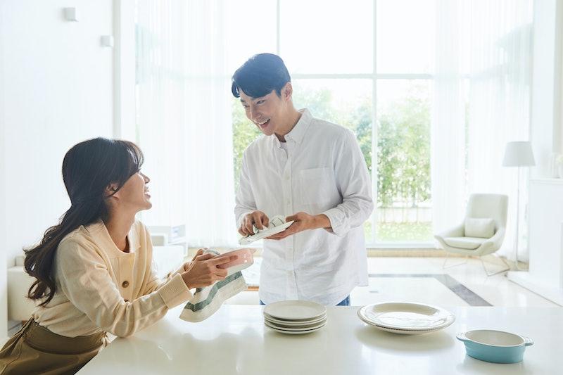 kitchen, chores, friends, couple