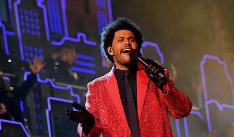 TAMPA, FLORIDA - FEBRUARY 04: In this image released on February 7th, The Weeknd rehearses for the Super Bowl LV Halftime Show at Raymond James Stadium on February 04, 2021 in Tampa, Florida. (Photo by Kevin Mazur/Getty Images for TW)