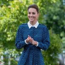 NORFOLK, UNITED KINGDOM - JULY 05: Catherine, Duchess of Cambridge applies hand sanitizer during a visit to Queen Elizabeth Hospital in King's Lynn as part of the NHS birthday celebrations on July 5, 2020 in Norfolk, England. Sunday marks the 72nd anniversary of the formation of the National Health Service (NHS). The UK has hailed its NHS for the work they have done during the Covid-19 pandemic. (Photo by Joe Giddens - WPA Pool/Getty Images)