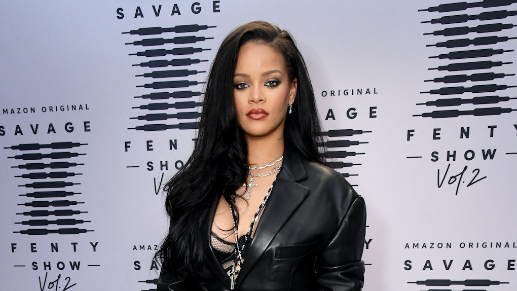 LOS ANGELES, CALIFORNIA - OCTOBER 1: In this image released on October 1, Rihanna attends the second press day for Rihanna's Savage X Fenty Show Vol. 2 presented by Amazon Prime Video at the Los Angeles Convention Center in Los Angeles, California; and broadcast on October 2, 2020.  (Photo by Kevin Mazur/Getty Images for Savage X Fenty Show Vol. 2 Presented by Amazon Prime Video)