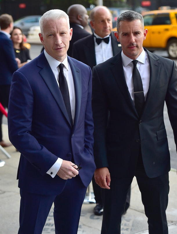 NEW YORK, NY - JUNE 16:  Anderson Cooper, Benjamin Maisani are seen  on June 16, 2015 in New York City.  (Photo by Alo Ceballos/GC Images)