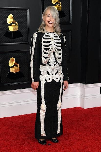 Phoebe Bridgers wearing a Thom Browne skeleton dress to the 2021 Grammys.