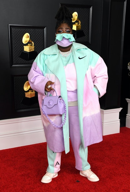 Chika in a tie-dye Nike look at the 2021 Grammys.
