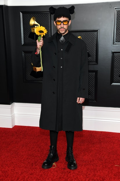 Bad Bunny wearing a Burberry look to the 2021 Grammys.