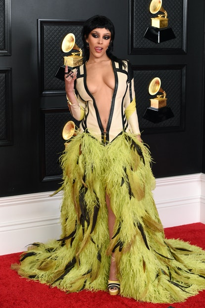 Doja Cat wearing a Roberto Cavalli gown at the 2021 Grammys.