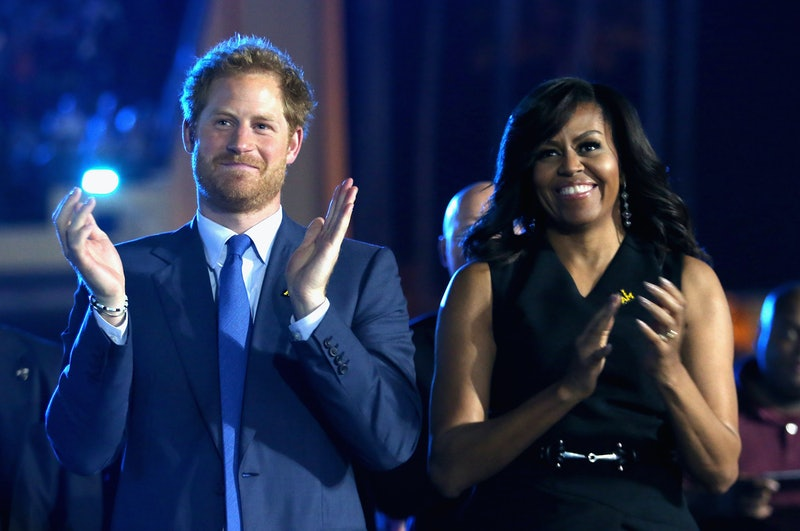 ORLANDO, FL - MAY 08:  Prince Harry and Michelle Obama cheer during the Opening Ceremony of the Invictus Games Orlando 2016 at ESPN Wide World of Sports on May 8, 2016 in Orlando, Florida. Prince Harry, patron of the  Invictus Games Foundation is in Orlando ahead of the opening of Invictus Games which will open on Sunday. The Invictus Games is the only International sporting event for wounded, injured and sick servicemen and women. Started in 2014 by Prince Harry the Invictus Games uses the power of Sport to inspire recovery and support rehabilitation.  (Photo by Chris Jackson/Getty Images for Invictus)