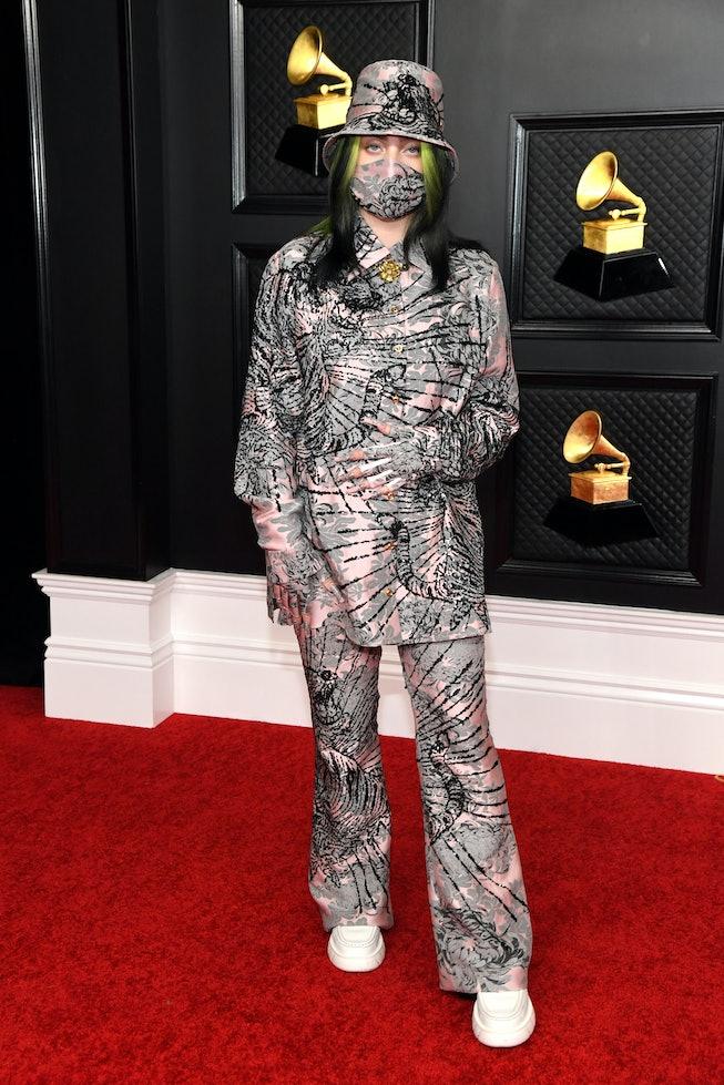 Billie Eilish wearing Gucci at the 2021 Grammys.