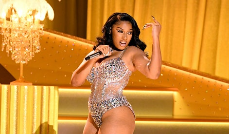 LOS ANGELES, CALIFORNIA: In this image released on March 14, Megan Thee Stallion performs onstage during the 63rd Annual GRAMMY Awards at Los Angeles Convention Center in Los Angeles, California and broadcast on March 14, 2021. (Photo by Kevin Winter/Getty Images for The Recording Academy)