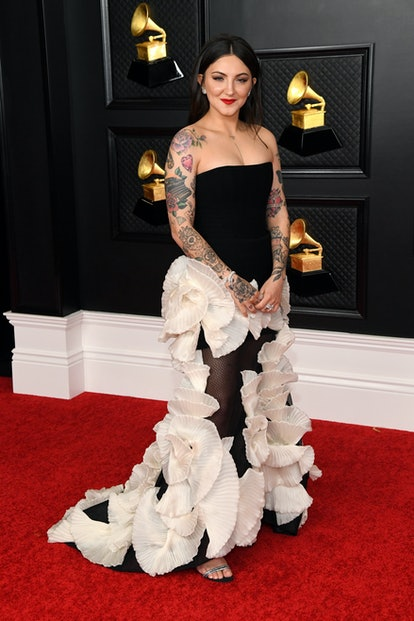 Julia Michaels wore a Georges Chakra couture gown to the 2021 Grammys.