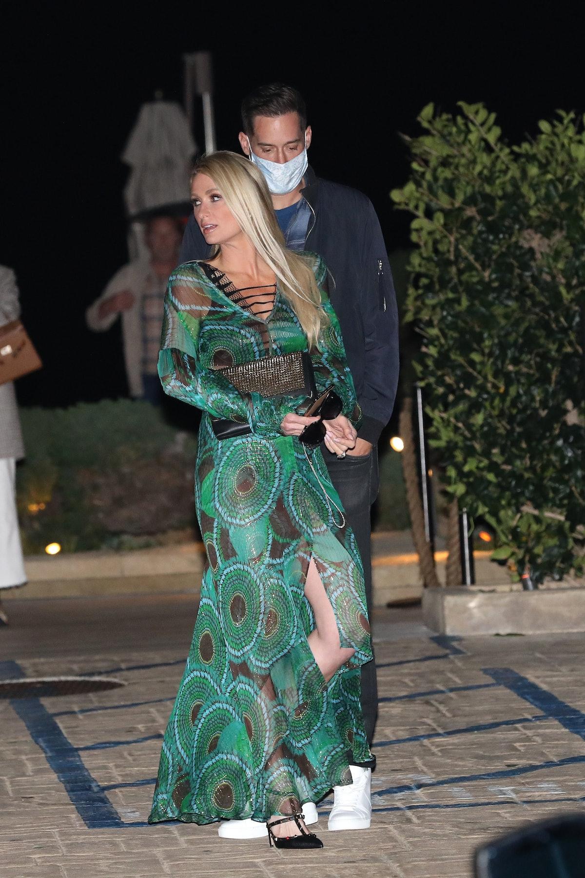 MALIBU, CA - MARCH 6: Paris Hilton and Carter Reum dine at Nobu on March 6, 2021 in Malibu, Californ...