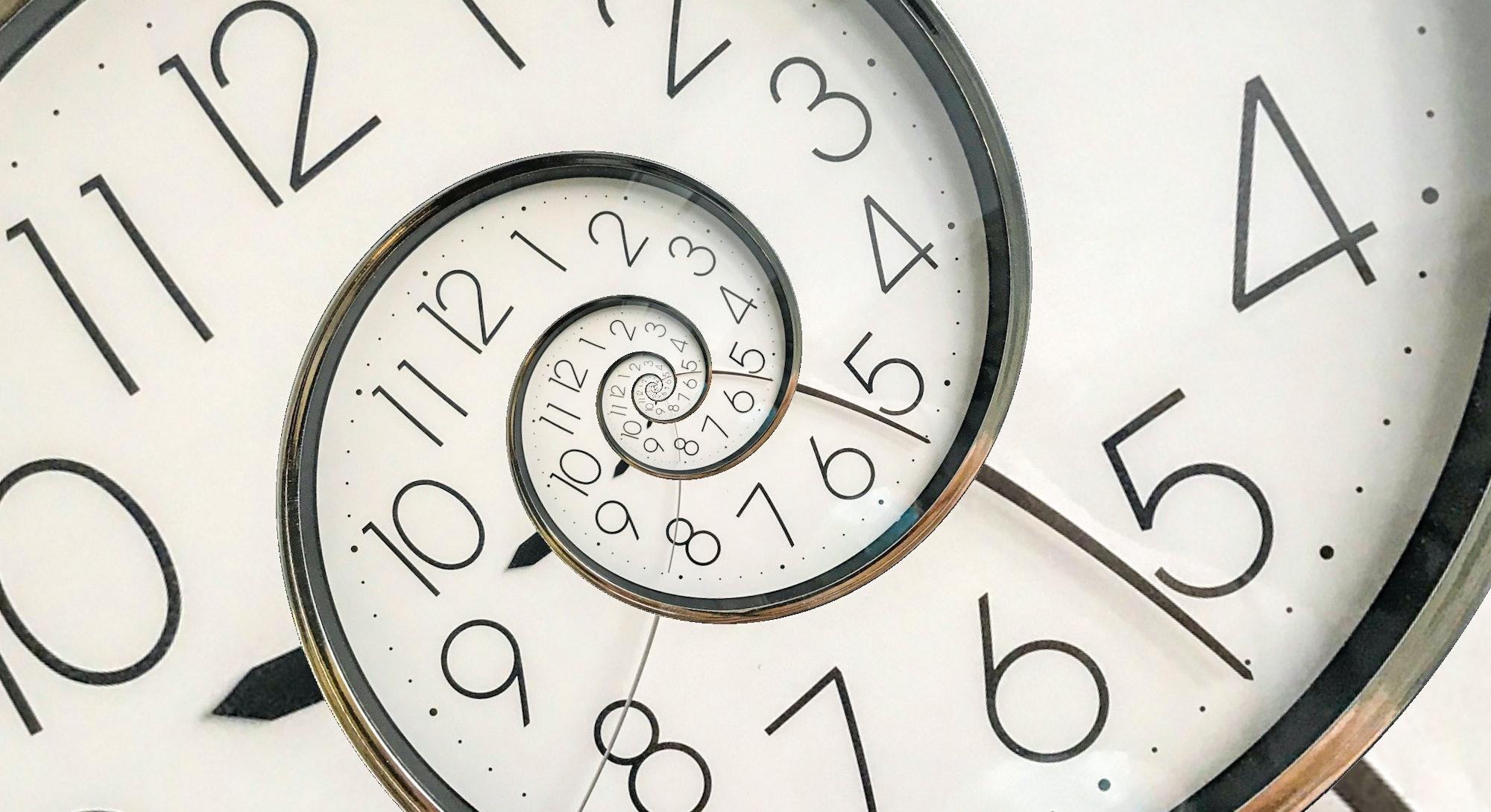 illustration of clock spiraling infinitely inward