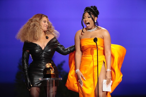 Los Angeles, CA, Sunday, March 14, 2021 - Beyonce and Megan These Stallion accepts the award for Best Rap Album at the 63rd Grammy Award outside Staples Center. (Robert Gauthier/Los Angeles Times via Getty Images)