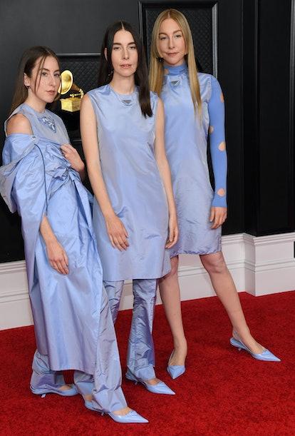HAIM Grammys 2021 Prada  Layered Dressing