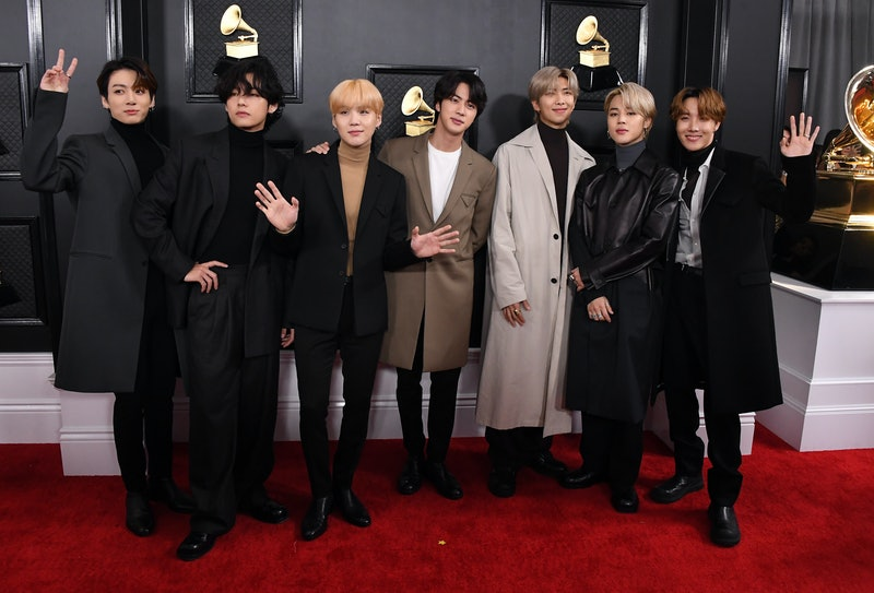 LOS ANGELES, CALIFORNIA - JANUARY 26: BTS arrives at the 62nd Annual GRAMMY Awards at Staples Center...