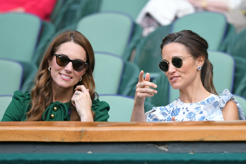 LONDON, ENGLAND - JULY 13: Catherine, Duchess of Cambridge and Pippa Middleton in the Royal Box on Centre Court during day twelve of the Wimbledon Tennis Championships at All England Lawn Tennis and Croquet Club on July 13, 2019 in London, England. (Photo by Karwai Tang/Getty Images)
