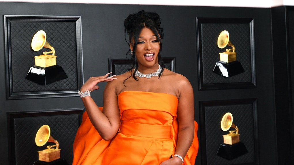 LOS ANGELES, CALIFORNIA - MARCH 14: Megan Thee Stallion attends the 63rd Annual GRAMMY Awards at Los Angeles Convention Center on March 14, 2021 in Los Angeles, California. (Photo by Kevin Mazur/Getty Images for The Recording Academy )