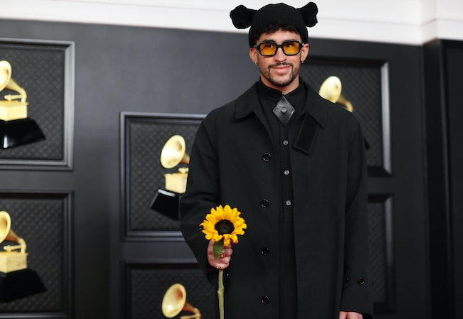 Bad Bunny on the red carpet at the 63rd Annual Grammy Awards, at the Los Angeles Convention Center, in downtown Los Angeles, CA, Wednesday, Mar. 14, 2021. (Jay L. Clendenin / Los Angeles Times via Getty Images)