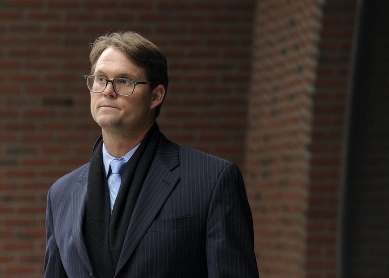 Mark Riddell leaves the John Joseph Moakley United States Courthouse after pleading guilty in the college admissions scandal April 12, 2019 in Boston, Massachusetts. - Riddell pled guilty to conspiracy to commit mail fraud, honest services mail fraud, and conspiracy to commit money laundering in the college admissions scandal. (Photo by Joseph Prezioso / AFP)        (Photo credit should read JOSEPH PREZIOSO/AFP via Getty Images)