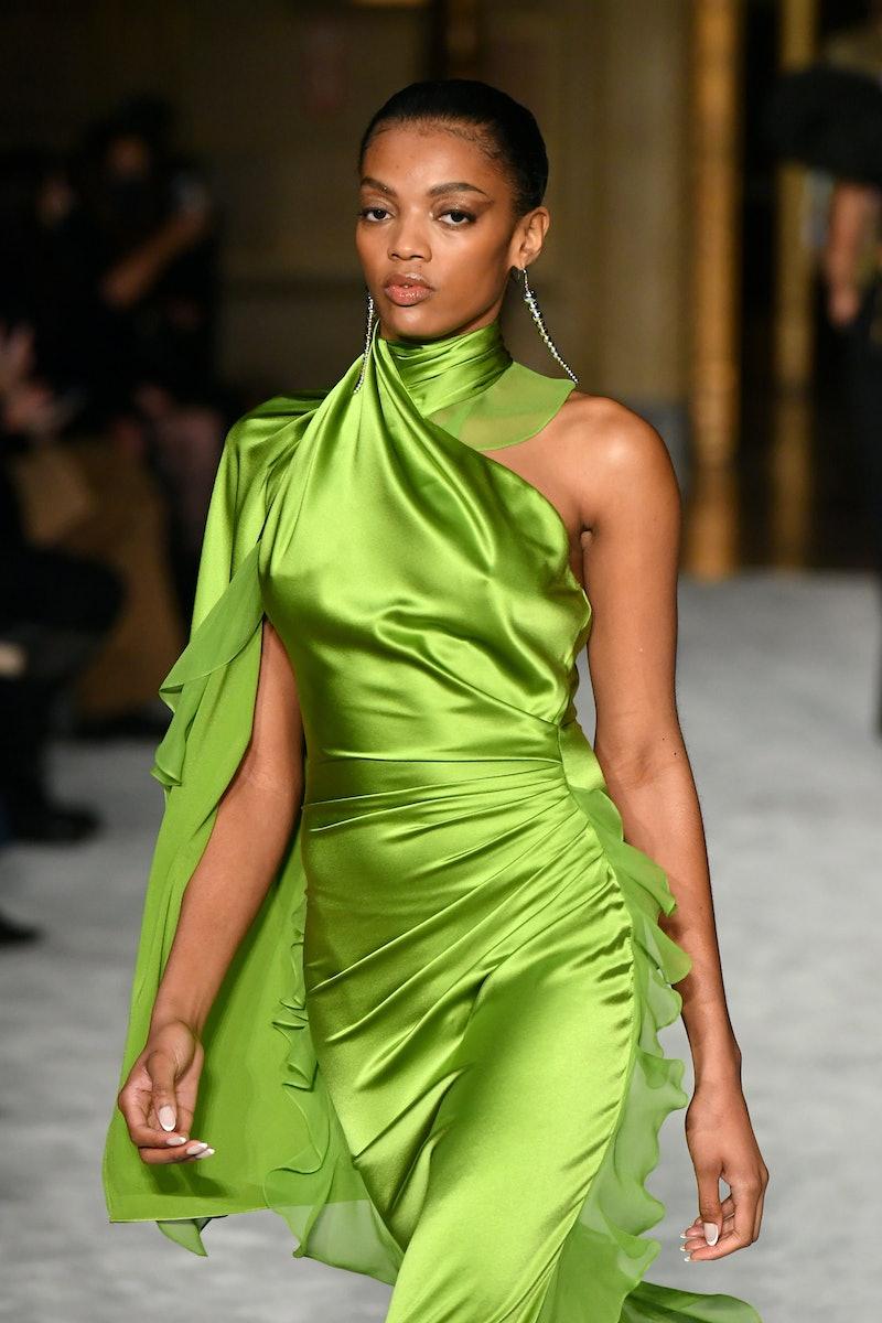 NEW YORK, NEW YORK - FEBRUARY 25: A model walks the runway during the Christian Siriano FW2021 NYFW ...