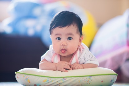 Babies may stick their tongue out for feeding reasons or for play time.