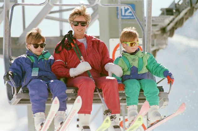 Princess Diana skiing with her sons.