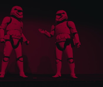 """LAS VEGAS, NEVADA - JANUARY 06: Stormtroopers from the movie """"Star Wars"""" perform during a Panasonic ..."""