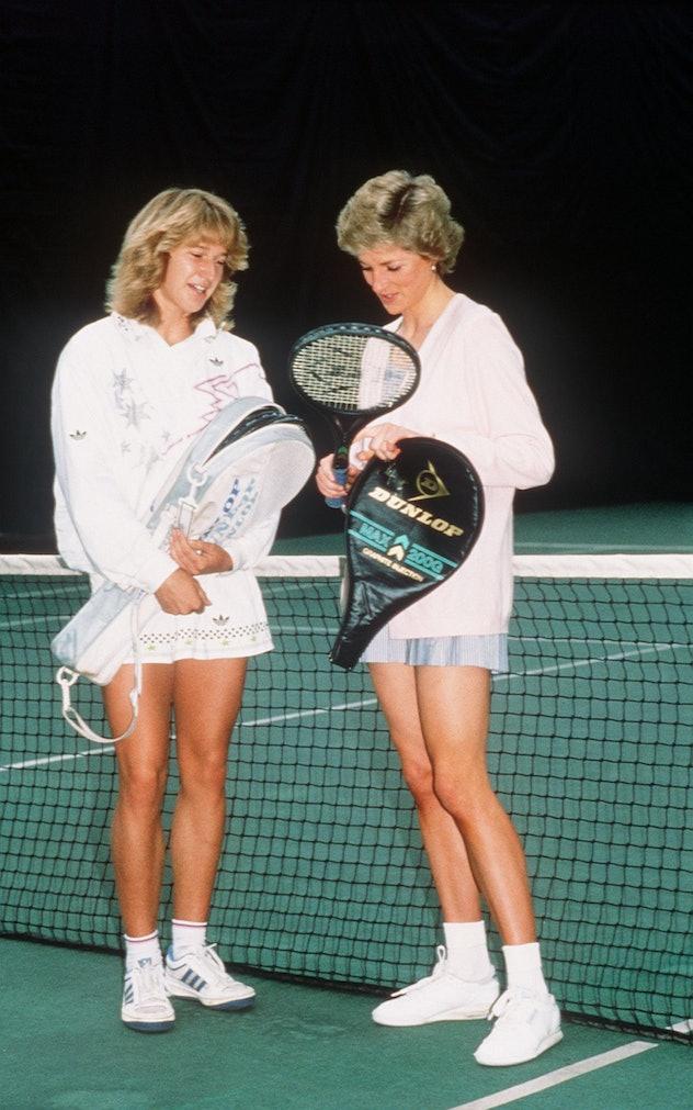 Princess Diana plays tennis with Steffi Graf.
