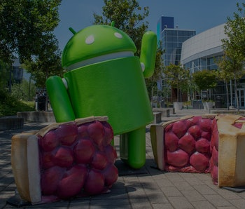 22 August 2019, US, Mountain View: The mascot of the current Android operating system Pie can be see...