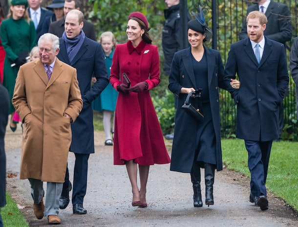 KING'S LYNN, ENGLAND - DECEMBER 25: Prince Charles, Prince of Wales, Prince William, Duke of Cambridge, Catherine, Duchess of Cambridge, Meghan, Duchess of Sussex and Prince Harry, Duke of Sussex attend Christmas Day Church service at Church of St Mary Magdalene on the Sandringham estate on December 25, 2018 in King's Lynn, England. (Photo by Samir Hussein/Samir Hussein/WireImage)