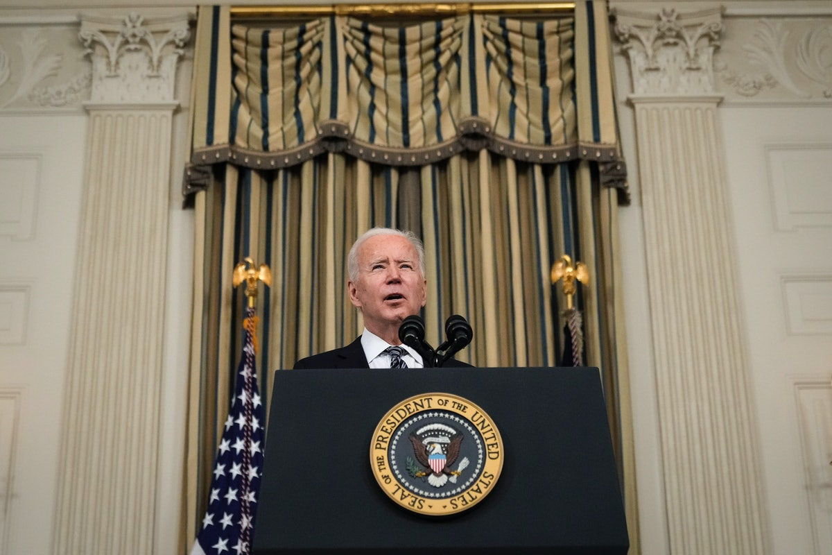 WASHINGTON, DC - MARCH 15: U.S. President Joe Biden delivers remarks in the State Dining Room of the White House on March 15, 2021 in Washington, DC. The administration announced on Monday that Gene Sperling, a former top economic official in the last two Democratic presidential administrations, will oversee the rollout of the $1.9 trillion coronavirus stimulus package that Biden signed into law last week. (Photo by Drew Angerer/Getty Images)
