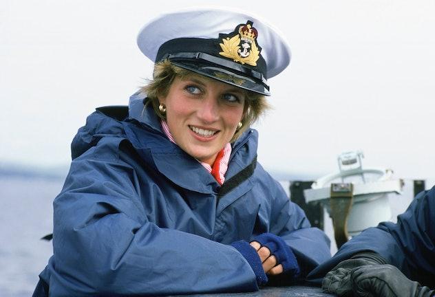 Princess Diana visits a submarine in sporty attire.