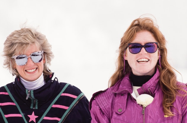 Princess Diana skiing with sister-in-law Sarah Ferguson.