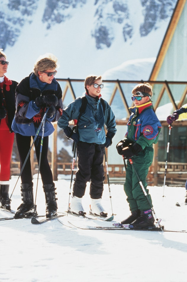Princess Diana goes skiing with her sons.