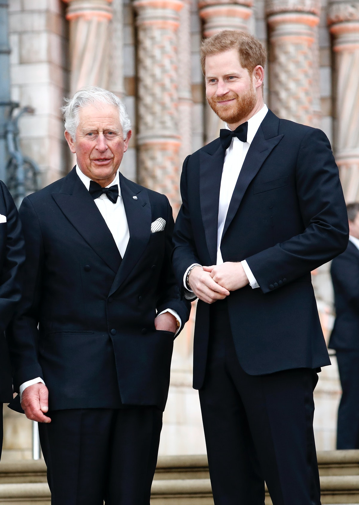 """LONDON, ENGLAND - APRIL 04: Prince Charles, Prince of Wales and Prince Harry, Duke of Sussex attend the """"Our Planet"""" global premiere the at the Natural History Museum on April 04, 2019 in London, England. (Photo by John Phillips/Getty Images)"""