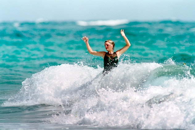 Princess Diana rides the waves in 1993.