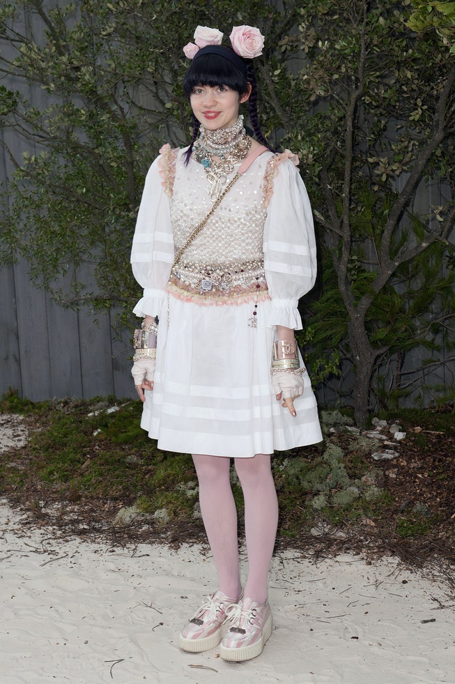 Grimes attends the Chanel Spring/Summer 2013 Haute-Couture show in 2013.