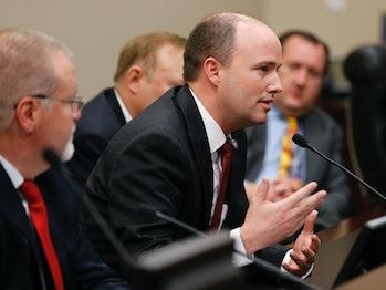 SALT LAKE CITY, UT - FEBRUARY 26: Utah Lt. Governor, Spencer Cox, talk after hearing testimony In a ...