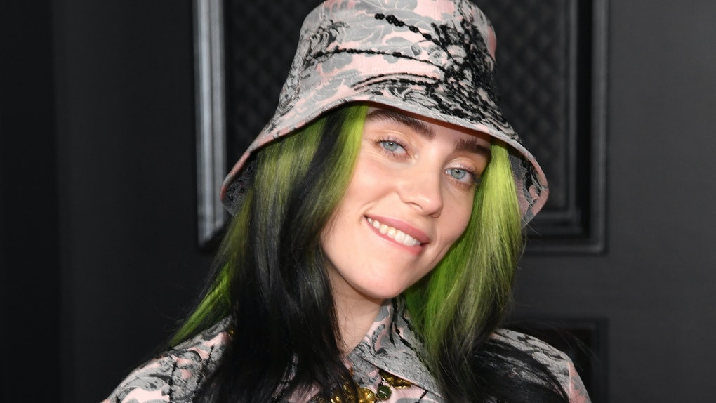 LOS ANGELES, CALIFORNIA - MARCH 14: Billie Eilish, winner of the Record of the Year award for 'Everything I Wanted' and the Best Song Written for Visual Media award for 'No Time to Die,' poses in the media room during the 63rd Annual GRAMMY Awards at Los Angeles Convention Center on March 14, 2021 in Los Angeles, California. (Photo by Kevin Mazur/Getty Images for The Recording Academy )
