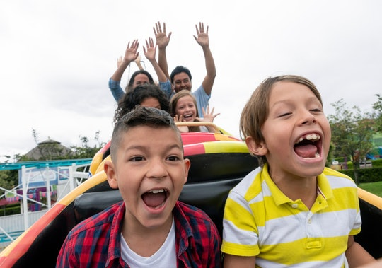 Happy kids having fun in an amusement park riding on a rollercoaster and screaming - lifestyle concepts