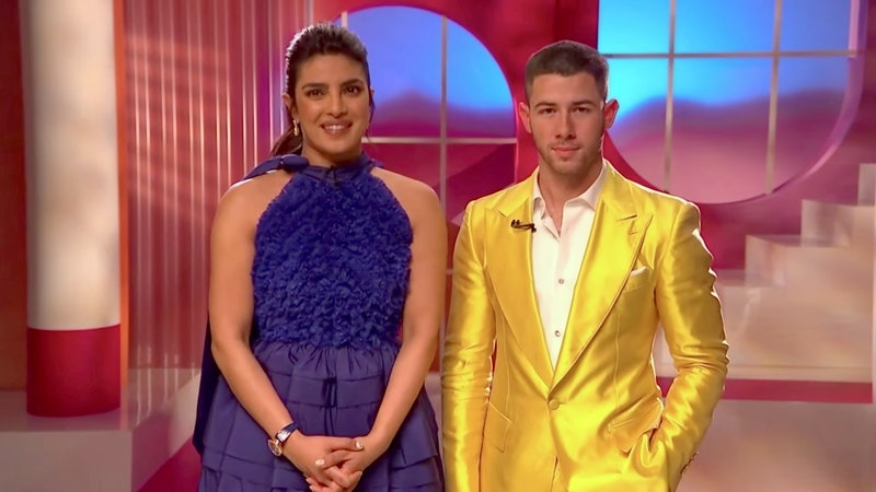UNSPECIFIED - MARCH 15: In this handout image provided by A.M.P.A.S. Priyanka Chopra Jonas and Nick Jonas speak at the 93rd Academy Awards Nominations Announcement on March 15, 2021. (Photo by Handout/AMPAS via Getty Images)