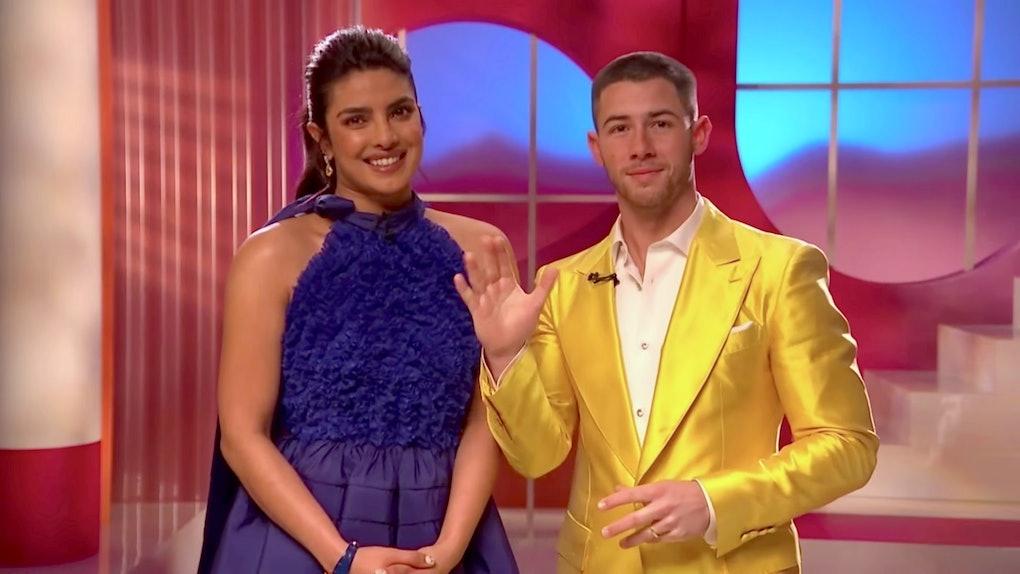 Priyanka Chopra Jonas and Nick Jonas speak at the 93rd Academy Awards Nominations Announcement on March 15, 2021.