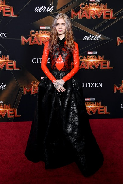 "Grimes attends the Marvel Studios ""Captain Marvel"" premiere on March 04, 2019 in Hollywood, California."