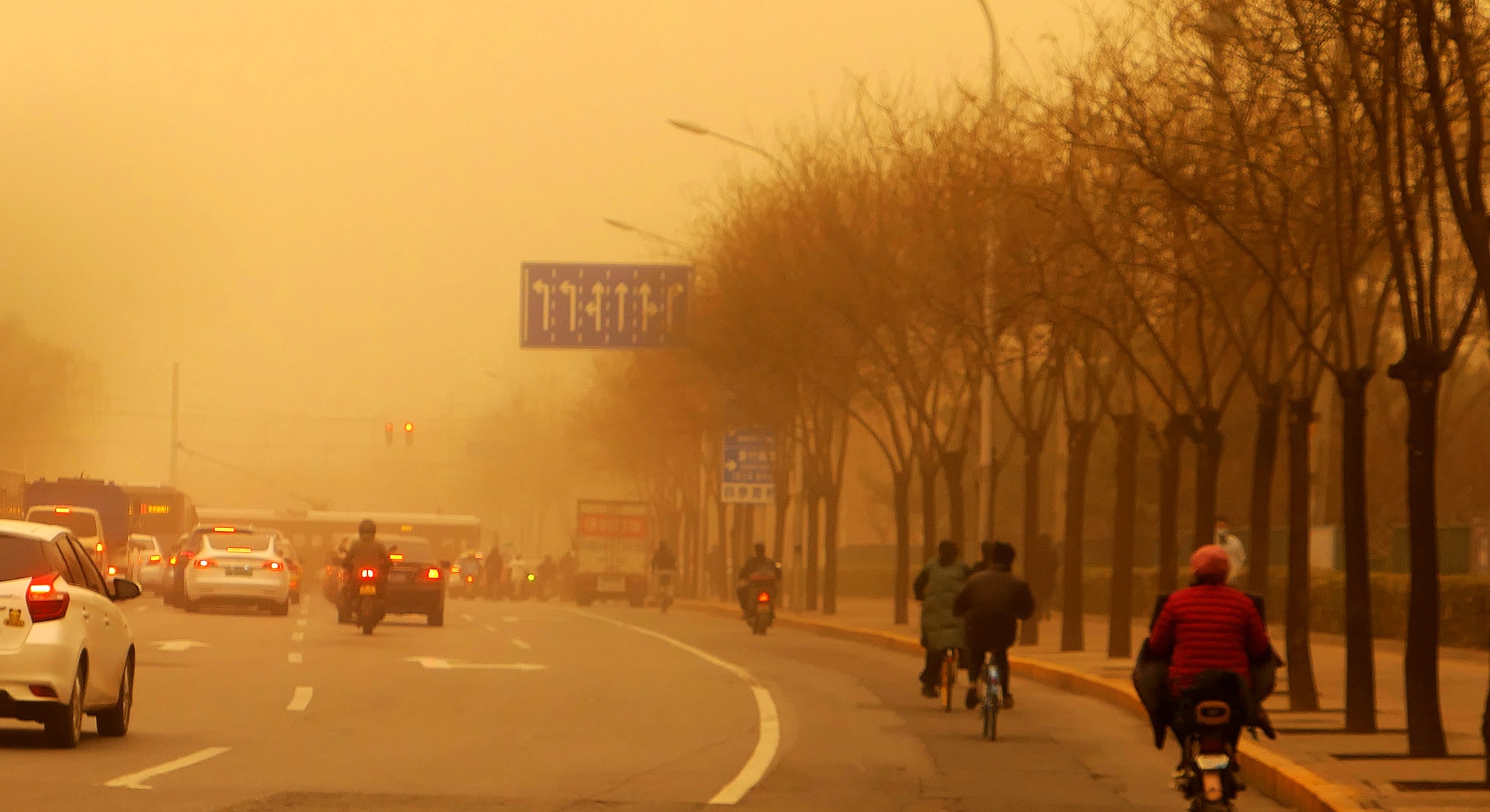 BEIJING, CHINA - MARCH 15, 2021 - A sandstorm hits Beijing, China, March 15, 2021.PHOTOGRAPH BY Costfoto / Barcroft Studios / Future Publishing (Photo credit should read Costfoto/Barcroft Media via Getty Images)