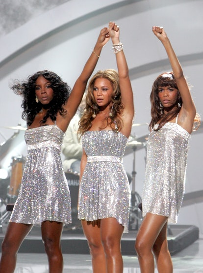 HOLLYWOOD - AUGUST 31:  (L-R) Destiny's Child singers Kelly Rowland, Beyonce Knowles and Michelle Williams perform onstage at the 2005 World Music Awards at the Kodak Theatre on August 31, 2005 in Hollywood, California.  (Photo by Kevin Winter/Getty Images)