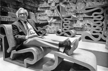 TORONTO, ON: Architect Frank Gehry sits on one of his cardboard chairs, photo taken by Boris Spremo/...