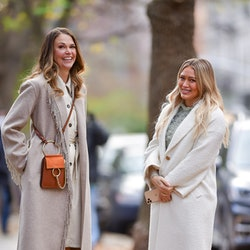 NEW YORK, NY - NOVEMBER 17:  Hilary Duff and Sutton Foster (L) seen on the set of 'Younger' in the East Village on November 17, 2020 in New York City.  (Photo by James Devaney/GC Images)