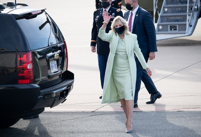 Jill Biden wears custom Brandon Maxwell after arriving at Delaware Air National Guard Base in Wilmington, Delaware, March 12, 2021.