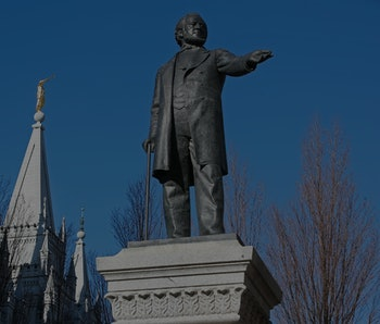 SALT LAKE CITY, UT - DECEMBER 17: A statue of Brigham Young, the second president of the Church of J...
